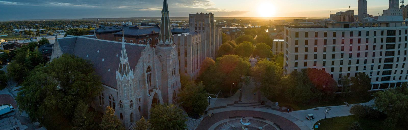 Creighton campus at sunrise